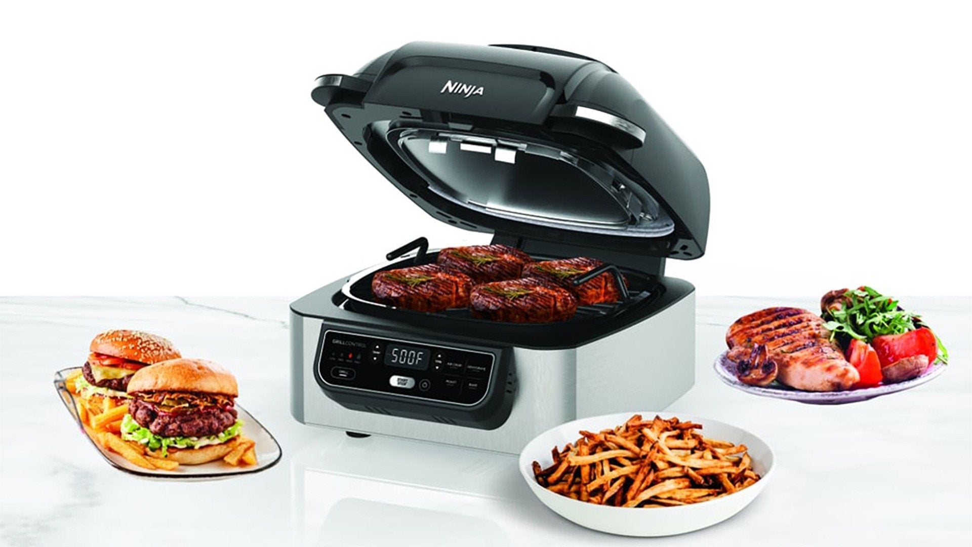 Ninja Foodi Grill - The grill that sears, sizzles, and air fry crisps!