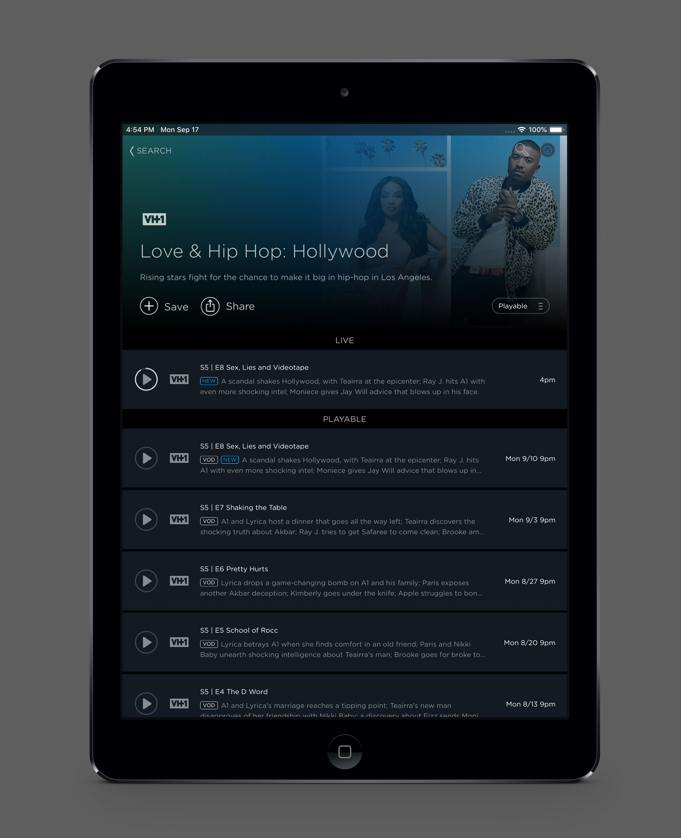 'Screenshot, Philo on iOS'