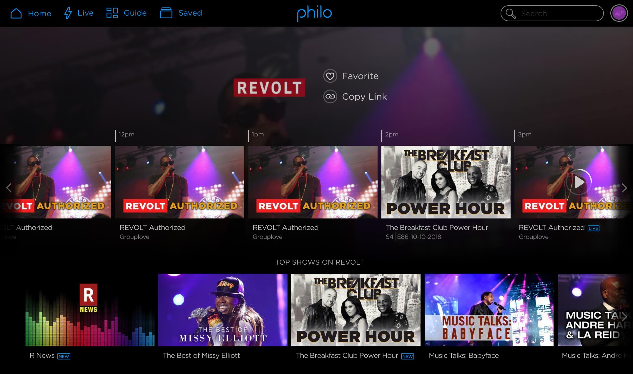 'Revolt network page on web'